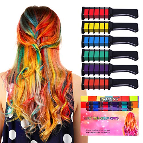 Kyerivs Hair Chalk Comb Temporary Hair Color Dye For Kid Girls Party and Cosplay DIY Festival Dress up Works on All Hair Colors Washable Christmas Gift Black Handle Mini 6PCS -
