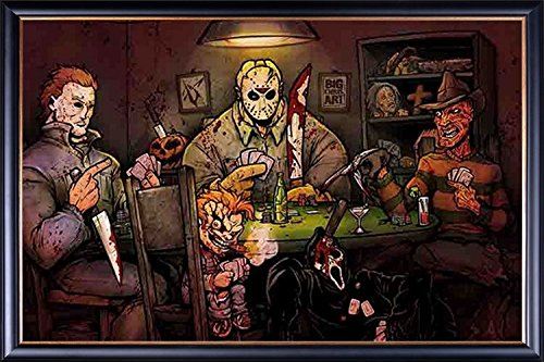 FRAMED Slashers Playing Poker 24x36 Poster Dry Mounted in Executive Series Black Wood Frame With Gold Lip - Crafted in USA