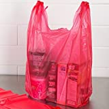 RG Large Plastic Grocery T-shirts Carry-out Bag Red Unprinted 12 X 6 X 21 (300, RED)