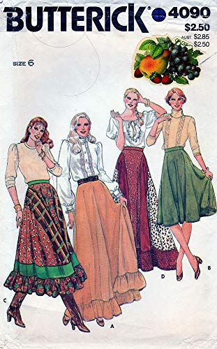 Butterick Sewing Pattern 4090 ca. 1980s Misses' Hispanic/Western Wear Inspired Flared Ruffled Skirts, Sizes ()
