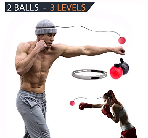 BV Reflex Punching Ball | Ideal Punching Speed Traning Ball for Self Defence Boxing MMA UFC and Other Combat Sports | 2 Different Ball - 3 Different Difficulty Level for Imporving Dodge Focus & Reflex by BV Company
