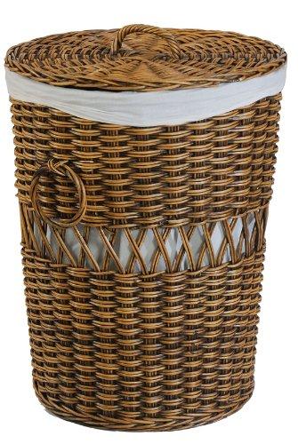 Wäschekorb rund aus Rattan - Versandkostenfrei in DE (klein)