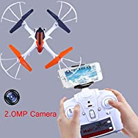 Cewaal Drone with 2.0MP HD Camera,360º Flips A Key Auto Return LED Light Headless Mode UFO Quadcopter Designed For Beginners Drone with Wifi Camera Live Video Headless Mode , 6 Axis Gyro RC Headless Q
