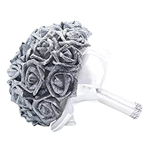Hunputa Wedding Bouquet, Big Size White Bridesmaid Bouquet Bridal Bouquet with Crystals Soft Ribbons, Artificial Rose Flowers for Wedding, Party and Church (Silver) 104