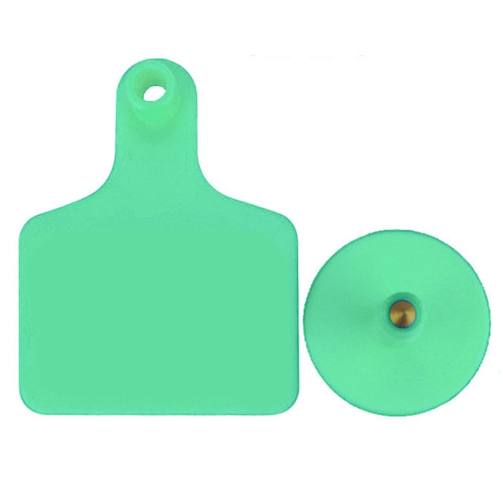 100pcs TPU Laser Curve Cattle Ear Tag Tagger Copper Head green without number RongZhan
