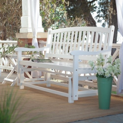 4-Ft Outdoor Patio Garden Glider Bench Loveseat in White Wood For Sale