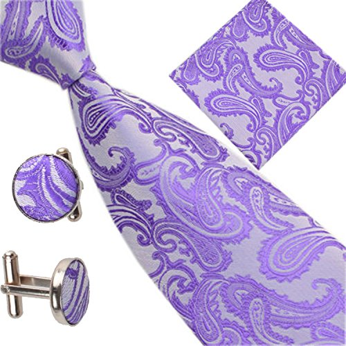 Paisley Occasions Patterned of Cufflinks Pocket Men Set Various Tie Square Purple fXS687q