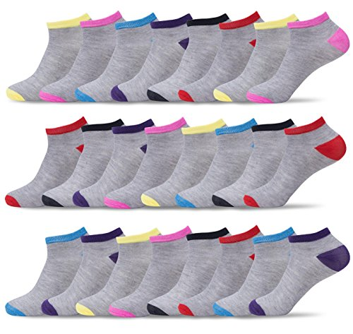Multi Color Womens Socks - Womens 24 Pack of Lightweight Fun, Funky and Colorful Anklet Ankle Socks (Multicolor 03, Shoe: 5-10/Sock: 9-11)
