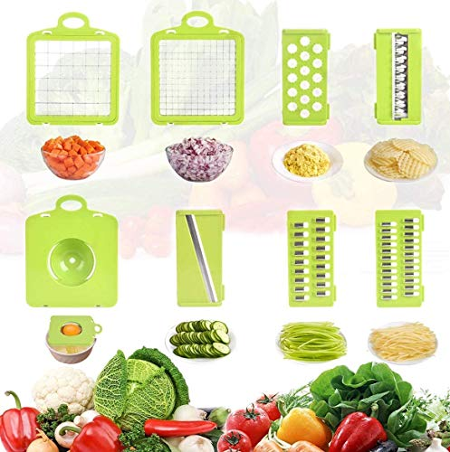 Ear&ear Food Chopper 8 in 1 Onion Chopper Vegetable Slicer Dicer, Potato Fruit and Cheese Cutter, Adjustable Kitchen Tool with Multifunction Blades Choppers Slicer(Food Grade)