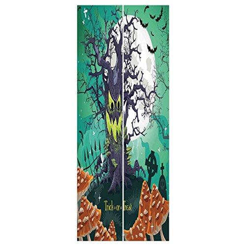 3d Door Wall Mural Wallpaper Stickers [ Halloween Decorations,Trick or Treat Dead Forest with Spooky Tree Graves Big Kids Cartoon Art,Multi ] Mural Door Wall Stickers Wallpaper Mural DIY Home (Diy Halloween Grave Decorations)