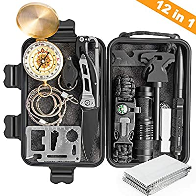 KOSIN Survival Gear, 12 in 1 Emergency Survival Kit, Professional Tactical Defense Equitment Tool with Knife Blanket Bracelets Backpack Temperature Compass Fire Starter for Adventure Outdoors Sport from KOSIN