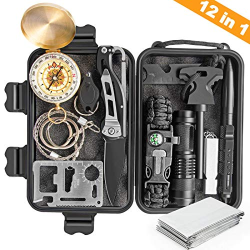 - KOSIN Survival Gear, 12 in 1 Emergency Survival Kit, Professional Tactical Defense Equitment Tool with Knife Blanket Bracelets Backpack Temperature Compass Fire Starter for Adventure Outdoors Sport