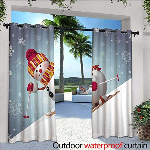 cobeDecor Snowman Outdoor Blackout Curtains Skiing Snowman in 3D Style with Ornate Snowflakes Winter Outdoors Activity Fun Outdoor Privacy Porch Curtains W108 x L96 Multicolor