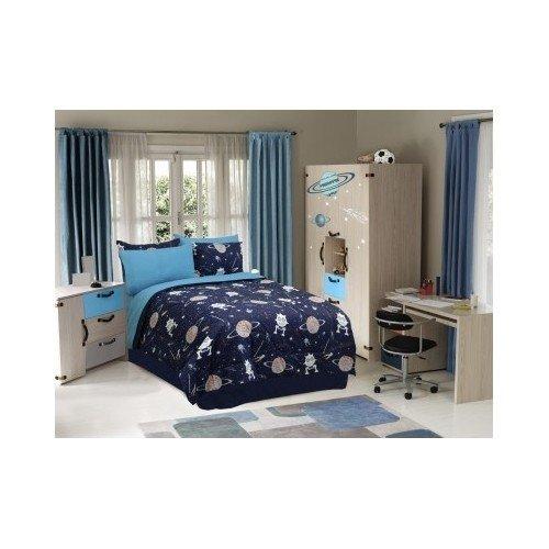Kids Boys Teen Comforter Bed Set Bedding Navy Blue Space Planets Glow in the Dark Full Twin Queen