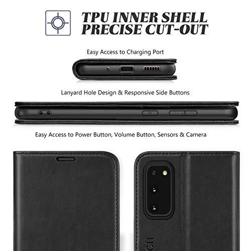 TUCCH Galaxy S20 Hülle, Handyhülle [RFID Schutz] [Standfunktion] [Kartenfach] [Lifetime Garantie], TPU Stoßfeste Schutzhülle Lederhülle Kompatibel für Galaxy S20 5G (6,2) Schwarz