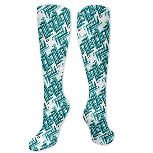 Compression Socks,Retro Architecture Style Modern Trippy Maze Form Urban Artsy Graphic (Maze Runner Costume)