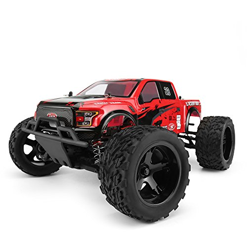 FunTech Flame Remote Control Car, 1/10 Scale Brushless Electric Truck, RC Racing Monster Cars, 2.4-Ghz Radio RC 4WD