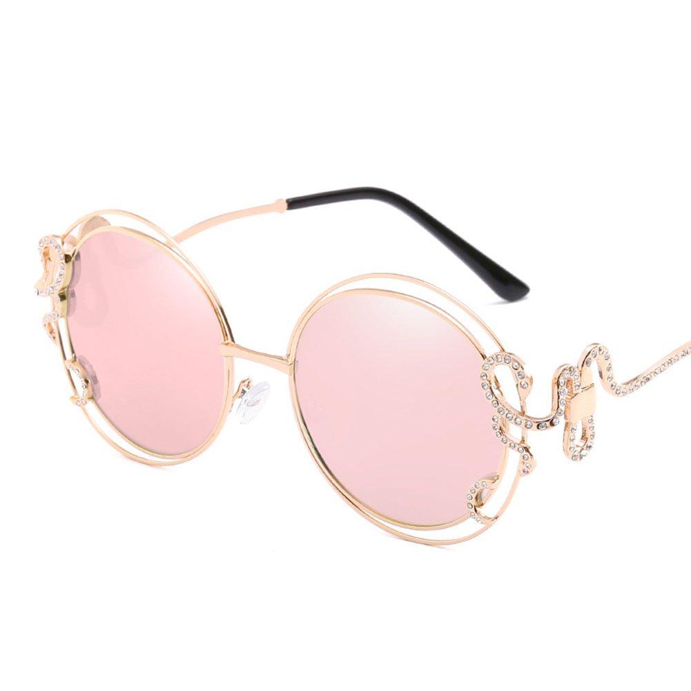 Sonnenbrille Persönlichkeit Große Rahmen Hohle Diamanten Lady Fahren Reise Brille,Pink
