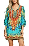 Urban CoCo Women Bohemian Neck Tie Vintage Printed Ethnic Style Summer Shift Dress (XL, Pattern 1)