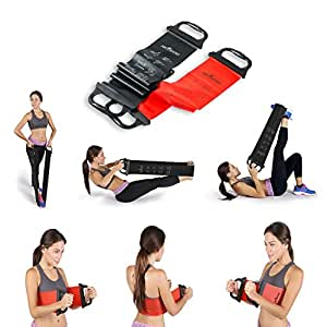 """Resistance Bands – Set of 2 With Handles - Upper Body Band 31"""" Lower Band 52""""– Ideal for Pilates & Physical Therapy – For Men & Women To Increase Flexibility"""