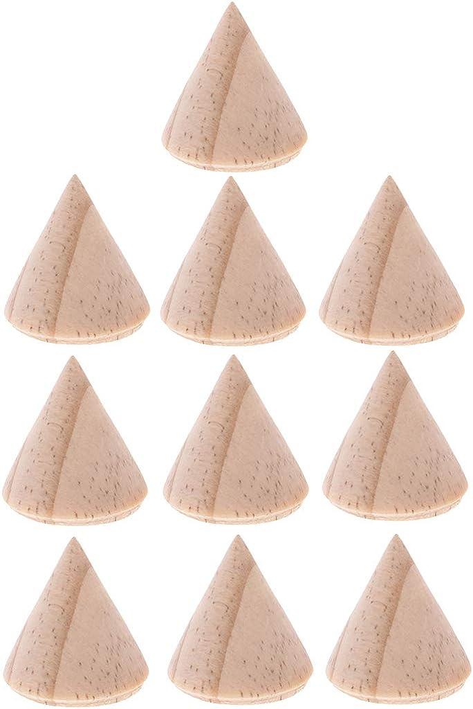 Baoblaze 10pcs Non Peinte Bague De C/ône en Bois Simple Bijoux Pr/ésentoir Titulaire