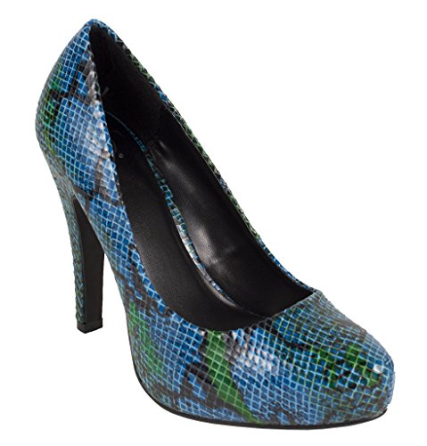 Embossed Platform Pump - Lustacious Women's Hidden Platform Classic Slip On Pumps with Exotic Look of Embossed Python Skin, blue python, 8 M