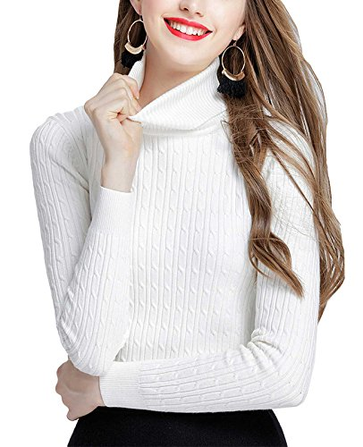MFrannie Womens Twist Ribbed Cable Stretchy Fit Knit Turtleneck Sweater White S