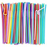 Colorful 100pcs/lot Plastic Flexible Bendable Straw Drinking Straws Valentine'S Day Wedding Birthday Party Decoration Gift