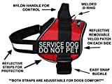 Doggie Stylz Service Dog Harness Vest Comes with 2 reflective SERVICE DOG DO NOT PET Velcro patches. Please measure dog before ordering (Girth 24-31'', Red)