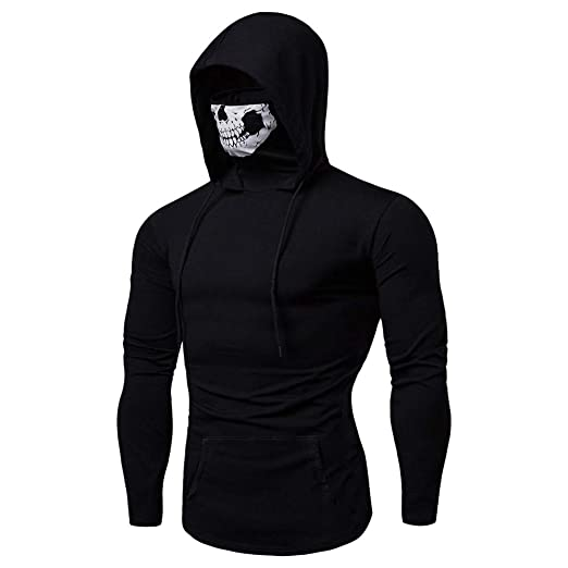 868014576a5 Amazon.com  Clearance Forthery Mens Skull Mask Hoodie Sweatshirts Funny  Pullover Hooded Tops  Clothing