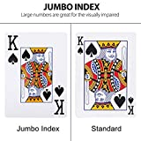 LotFancy Jumbo Index Playing Cards, 12 Decks of Cards (6 Blue 6 Red), Large Print, Poker Size, for Texas Hold'em, Blackjack, Pinochle, Euchre