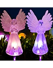 Angel lamp Grave Decorations for Cemetery Solar Garden Decorations Garden Lights Solar Powered Mothers Day Garden Gifts Garden Angel (2 pcs)