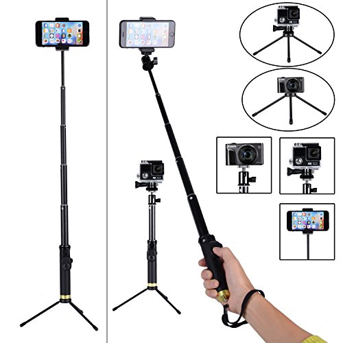 professional selfie stick with bluetooth remote and tripod stand for apple gopro. Black Bedroom Furniture Sets. Home Design Ideas