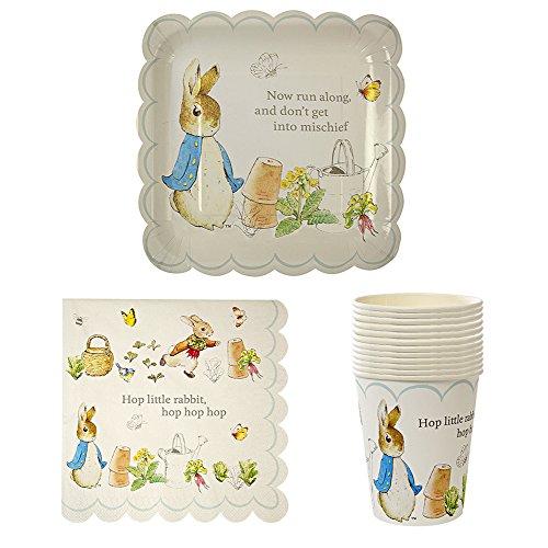 Meri Meri Peter Rabbit Large Plates, Large Napkins, and Party Cups Assortment