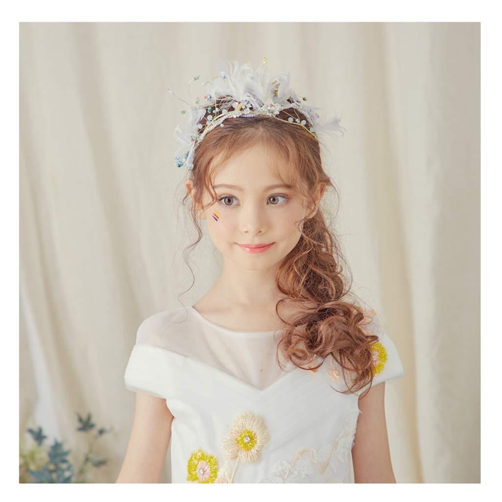 Wreath Flower Girl Headdress Feather Child Headdress Wedding Dress Hair Accessories Handmade Bride Flower Headband by Wreath