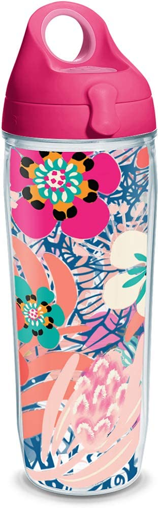 Tervis Bright Wild Blooms Insulated Travel Tumbler with Wrap and Lid 24 oz Water Bottle - Tritan, Clear