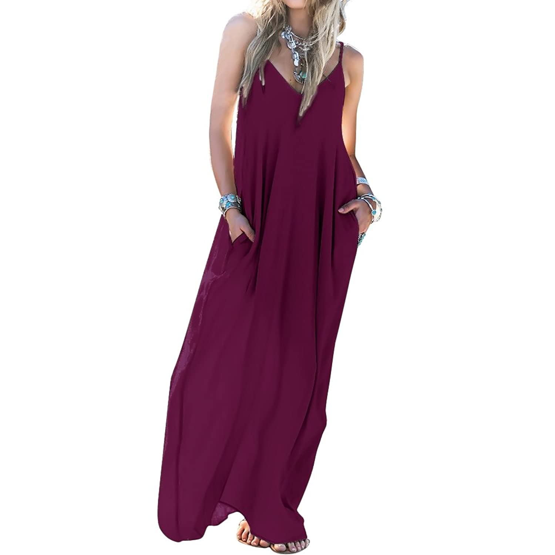 Skyblue-uk - Vestido boho para mujer, maxi vestido suelto, sin ...