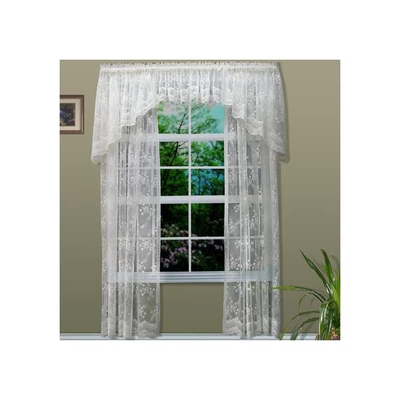 "Habitat Mona Lisa Lace Window Panels - 56 Wide and 84 long 1.25"" header and engineered scalloped bottom."" Jacquard woven design with scalloped edges - living-room-soft-furnishings, living-room, draperies-curtains-shades - 51W02JLuGnL. SS570  -"