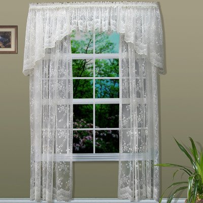 Common Wealth Home Fashions Mona Lisa Lace Window Panels, 56 by 63-Inch, White (Shades Lace)