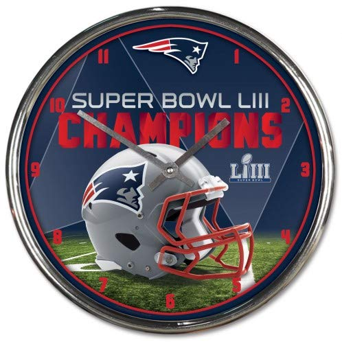 New England Patriots Super Bowl LIII Champions Chrome Clock