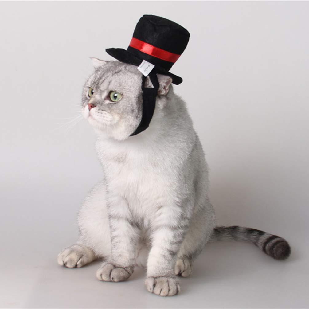POPETPOP Cappello a Cilindro Cappello da Cane Regolabile per Cucciolo Gatto Gattino Costume Cosplay Festa di Natale di Halloween Nero