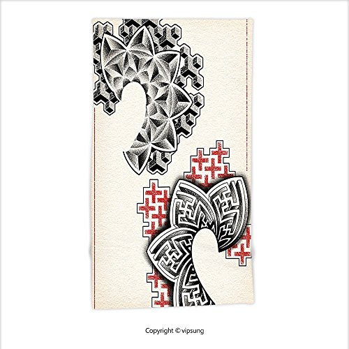 Vipsung Microfiber Ultra Soft Hand Towel-Trippy Art Decor Psychedelic Ethnic Figures Original Playing Cards Motif With Tribal Effects Inches Black Red For Hotel Spa Beach Pool Bath - Chippendales Playing Cards