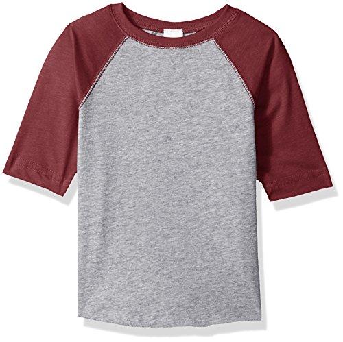 Clementine Kids Toddler Baseball Softline Fine Jersey T-Shirt, HTHR/VN Burg, 4T ()