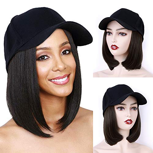 AISI BEAUTY Baseball Hat with Hair Bob Style Hair with Hats Attached Synthetic Baseball Cap with Hair Black Hat with Hair Short Bob Hair (Baseball Cap Style)