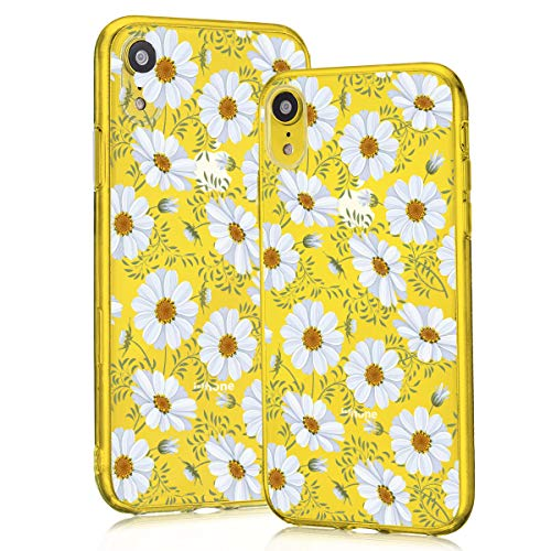 Idocolors for iPhone XR Case Floral Daisy White Flower Clear Design Cover TPU Soft Slim Girly for Girls & Women Protective for iPhone XR]()