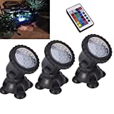 3 Set Pond lights Remote control Submersible Lamp 36 LED Colorful Waterproof Aquarium Spotlight Multi-color Decoration Landscape lamp for Swimming Pool Fountain Fish tank Water Garden Rockery Yard