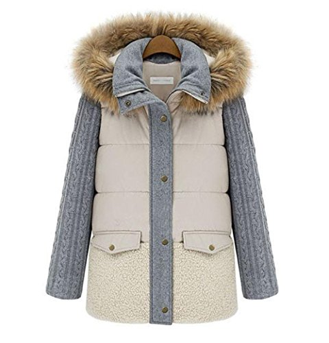 GRAY Package Winter Hooded Jacket Jacket Coat Lightweight Jacket Tops Down Warm and M Artificial Fur Slim Jacket ggfAqZ