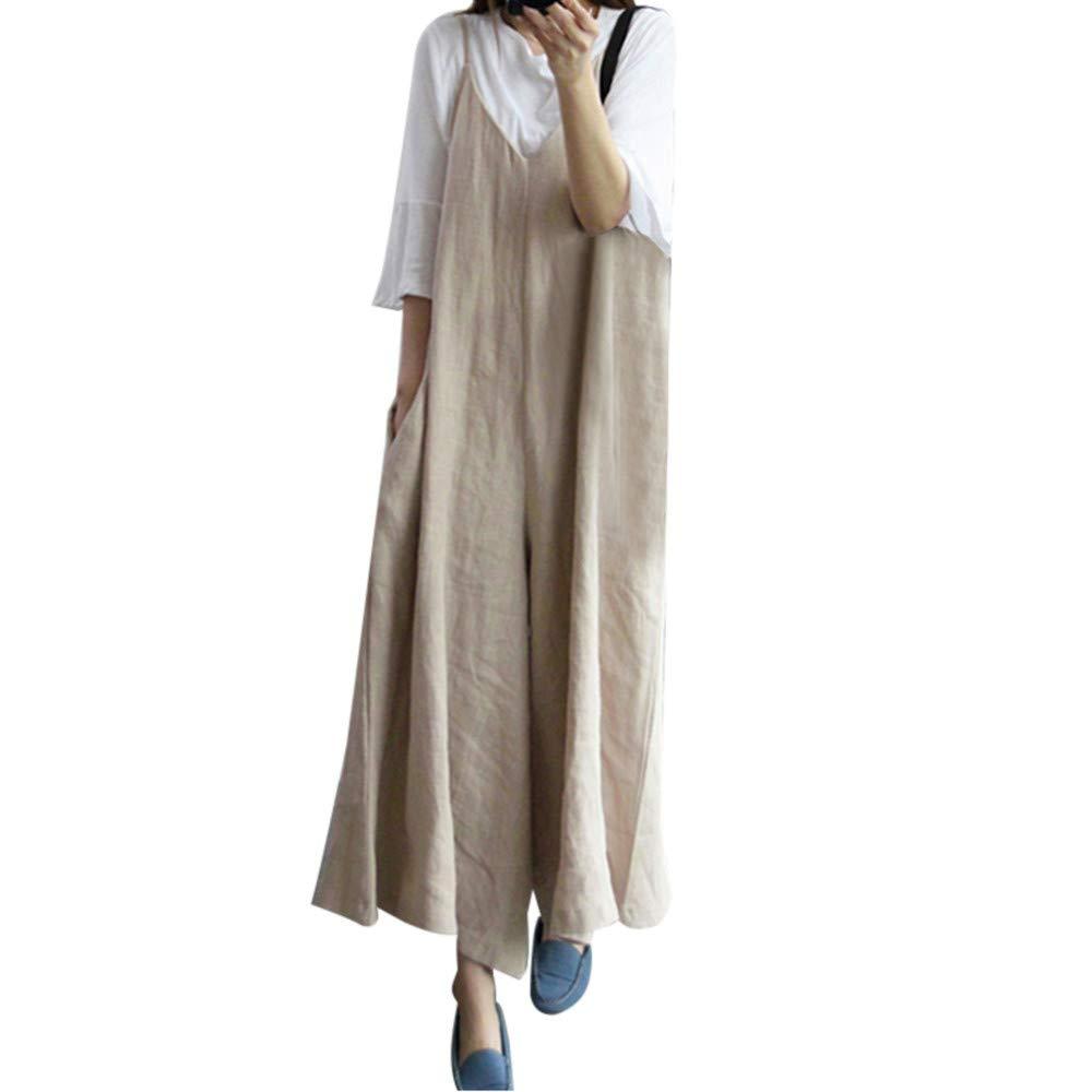 Nadition Jumpsuit,Womens Fashion Cotton Linen Overall Baggy Jumpsuit Playsuit Casual Pure Color Wide Leg Pants Khaki
