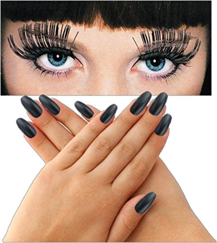 Deluxe Long Black Press-on Fingernails Bundles with Jumbo Black Eyelashes for Parties or (Glamorous Witch Halloween Makeup)