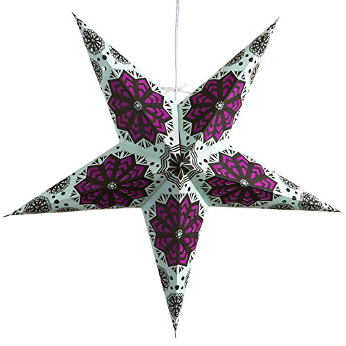 Snowflake Paper Star Light Lamp Lantern with 12 Foot Power Cord - Paper Lamps Handmade